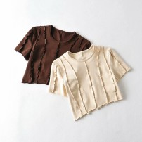 T-shirt Apricot, coffee S,M,L Summer 2021 Short sleeve Crew neck Self cultivation have cash less than that is registered in the accounts routine street cotton 96% and above Europe and America
