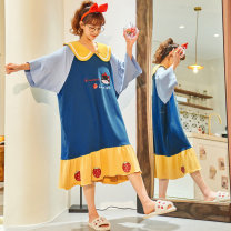 Nightdress Other / other M (recommended 80-120 kg), l (recommended 120-150 kg), XL (recommended 150-180 kg), 2XL (recommended 180-210 kg) Sweet Middle sleeve Leisure home Middle-skirt summer Cartoon animation youth Small lapel cotton Lotus leaf edge More than 95% pure cotton 200g and below