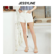 Jeans Summer of 2019 White (no accessories) XS/155 S/160 M/165 L/170 shorts High waist Straight pants routine 18-24 years old Cotton denim light colour Jessy·Line 96% and above Cotton 100% Same model in shopping mall (sold online and offline)