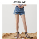 Jeans Summer 2020 Denim (without accessories) XS/155 S/160 M/165 L/170 shorts Natural waist Straight pants Thin money 18-24 years old Wear and wash Cotton denim light colour Jessy·Line Cotton 100%
