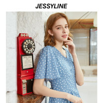 Dress Summer of 2019 [wave point] (without accessories) XS/155 S/160 M/165 L/170 Mid length dress singleton  Short sleeve street V-neck middle-waisted Dot Socket A-line skirt Lotus leaf sleeve Others 18-24 years old Jessy·Line Lotus leaf edge More than 95% Chiffon polyester fiber Polyester 100%
