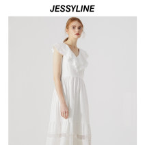 Dress Summer 2020 XS/155 S/160 M/165 L/170 Mid length dress singleton  Sleeveless Sweet V-neck middle-waisted Solid color Socket A-line skirt routine Others 18-24 years old Jessy·Line More than 95% cotton Cotton 100% Ruili