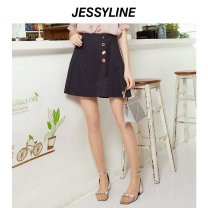 skirt Summer of 2019 XS/155 S/160 M/165 L/170 Short skirt street Natural waist A-line skirt Solid color Type A 18-24 years old 51% (inclusive) - 70% (inclusive) Jessy·Line cotton Button Same model in shopping mall (sold online and offline) Europe and America
