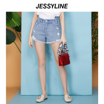Jeans Summer of 2019 Denim (without accessories) XS/155 S/160 M/165 L/170 shorts Natural waist Straight pants routine 18-24 years old Wear out washed buttons Cotton denim light colour Jessy·Line 96% and above Cotton 100% Same model in shopping mall (sold online and offline)