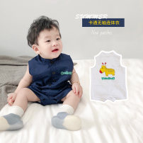 Jumpsuit / climbing suit / Khaki Other / other Class A currency Blue, white 66cm,73cm,80cm,90cm,100cm cotton summer Sleeveless Short climb leisure time There are models in the real shooting nothing Cotton 95% other 5% Socket one-piece garment Chinese Mainland