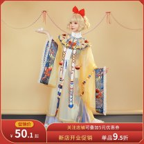 Hanfu 96% and above Summer 2021 It will be delivered 30 days in advance for stand collar cardigan, one piece pleated skirt, cloud shoulder and sling S. M, l, average size polyester fiber
