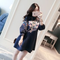 Shirt / Chiffon three quarter sleeve Other / other Dark blue, white other other Korean version spring and autumn Pure cotton (95% and above)