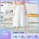 skirt Summer 2021 S M L XL This is white and black Mid length dress Versatile High waist A-line skirt Solid color Type A 25-29 years old 51% (inclusive) - 70% (inclusive) other Sweet basil / Zishu cotton Pocket button Pure e-commerce (online only)