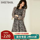 Dress Spring 2021 Black printing S M L XL Mid length dress singleton  Long sleeves commute Crew neck High waist Broken flowers zipper Big swing puff sleeve 25-29 years old Type A Sweet basil / Zishu lady Lace D1FD11326- More than 95% polyester fiber Polyester 100% Pure e-commerce (online only)