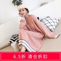 sweater Autumn of 2018 Average size White blue pink apricot Long sleeves Socket singleton  Medium length acrylic fibres 51% (inclusive) - 70% (inclusive) Crew neck Regular routine Solid color Straight cylinder 18-24 years old Ye Fengling YFL8897 Pure e-commerce (online only)