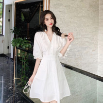 Dress Summer 2021 white S,M,L Mid length dress singleton  elbow sleeve commute Half open collar Solid color WN0002289 other