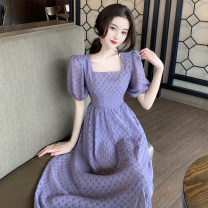 Dress Summer 2021 Apricot, purple S,M,L singleton  Short sleeve commute square neck Solid color routine 18-24 years old 31% (inclusive) - 50% (inclusive) Chiffon
