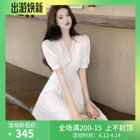 Dress Summer 2020 I42-a-white S,M,L longuette singleton  Short sleeve commute V-neck High waist Solid color Socket A-line skirt puff sleeve Others 18-24 years old Type A Other / other Korean version Auricularia auricula, Gouhua, hollow out, button, lace WN0001996