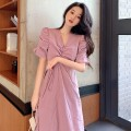 Dress Summer 2021 White, taro purple S, M singleton  elbow sleeve commute V-neck High waist Solid color A-line skirt routine 18-24 years old More than 95% other cotton