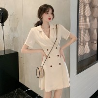 Dress Summer 2021 Apricot, navy blue S, M Middle-skirt Fake two pieces Short sleeve commute Polo collar High waist Solid color Single breasted A-line skirt routine Others 18-24 years old Type A Pocket, strap 31% (inclusive) - 50% (inclusive) other other