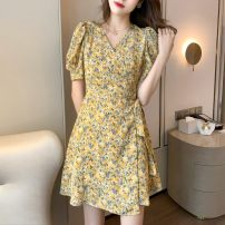 Dress Summer 2021 Yellow, purple S,M,L,XL Mid length dress singleton  Short sleeve commute Half open collar Broken flowers 31% (inclusive) - 50% (inclusive) polyester fiber