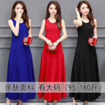 Dress Summer 2020 Blue black red Caramel red pink XL 2XL 3XL 4XL 5XL 6XL 7XL longuette singleton  Sleeveless commute Crew neck Solid color Socket A-line skirt 35-39 years old Type A Fudaiyi Simplicity FDY19355491 More than 95% polyester fiber Polyester 95% polyurethane elastic fiber (spandex) 5%
