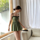 one piece  When summer is like painting M,L,XL green Skirt one piece With chest pad without steel support Nylon, spandex, polyester, others female Sleeveless Casual swimsuit