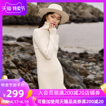 Dress Winter 2017 Off white black S M L longuette singleton  Long sleeves street High collar middle-waisted Solid color Socket One pace skirt routine Others 25-29 years old Type H Jn / JW / in and out of bounds Thread wave Y64H1092B 51% (inclusive) - 70% (inclusive) knitting acrylic fibres
