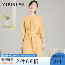 Dress Spring 2020 Honey yellow Middle-skirt singleton  elbow sleeve commute V-neck Elastic waist Solid color Socket routine Others 35-39 years old Yifni / Yifei lady More than 95% polyester fiber Polyester 100% Same model in shopping mall (sold online and offline)