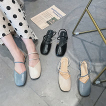 Sandals 35,36,37,38,39 Black, apricot, blue PU Qiankanuo Baotou Square heel Low heel (1-3cm) Spring 2021 Flat buckle Korean version Solid color Adhesive shoes Middle aged (40-60 years old), young (18-40 years old) rubber daily PU PU Luffy & 1903 Flat buckle Zero point eight Zero point five