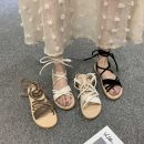 Sandals 35,36,37,38,39 Off white, khaki, black PU Qiankanuo Barefoot Flat bottom Middle heel (3-5cm) Summer 2020 Flat buckle Sweet Solid color Adhesive shoes rubber daily PU PU Sea blue star & Q7 Flat buckle Zero point eight Zero point five