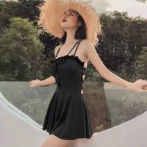 one piece  other M,L,XL White, orange, black, ginger Skirt one piece Steel strap breast pad Nylon, spandex, polyester, others female Sleeveless