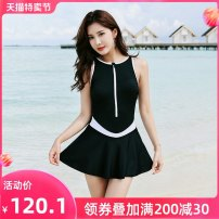 one piece  Shuman M L XL XXL XXXL Blue black Skirt one piece With chest pad without steel support Nylon spandex polyester SM2085 Winter of 2019 female Sleeveless Casual swimsuit