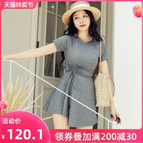 one piece  Ginger M L XL XXL grey Skirt one piece With chest pad without steel support Nylon spandex polyester Autumn of 2019 female Short sleeve Casual swimsuit
