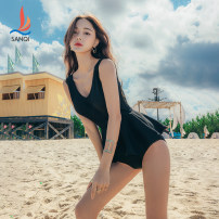 one piece  Sanqi M L XL Black dark grey Triangle one piece swimsuit Steel strap breast pad Nylon spandex polyester Autumn 2020 yes female Sleeveless Casual swimsuit Solid color backless