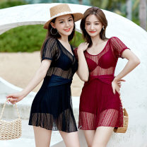 one piece  Shuman M L XL XXL XXXL Red and black Skirt one piece Steel strap breast pad nylon SM21105 Winter 2020 female Short sleeve Casual swimsuit Solid color Hollowing out