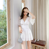 one piece  seagull  M L XL XXL Black and white Skirt one piece Steel strap breast pad Nylon spandex polyester XG21110 Winter 2020 female Short sleeve Casual swimsuit Solid color Hollowing out