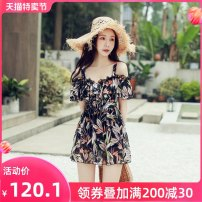 one piece  Ginger M L XL XXL Black flower Skirt one piece With chest pad without steel support Nylon spandex polyester J1983 Winter of 2019 female Short sleeve Casual swimsuit