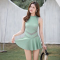 one piece  Shuman M L XL XXL Black light green Skirt one piece With chest pad without steel support Nylon spandex polyester SM2143 Autumn 2020 yes female Sleeveless Casual swimsuit Solid color Hollowing out