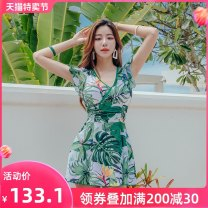one piece  Sanqi L XL XXL XXXL green Skirt one piece With chest pad without steel support Nylon spandex polyester SQ20086 Autumn of 2019 no female Short sleeve Casual swimsuit