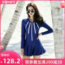 one piece  Shuman M L XL XXL Navy Black Skirt one piece With chest pad without steel support Nylon spandex polyester SM2038 Autumn of 2019 no female Long sleeves Casual swimsuit