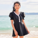 one piece  Sanqi M L XL XXL black Skirt one piece With chest pad without steel support nylon SQ22007 Spring 2021 yes female Short sleeve Casual swimsuit Lotus leaf edge