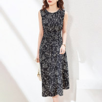Dress Summer 2021 Black flower S M L XL Mid length dress singleton  Sleeveless commute Crew neck middle-waisted Decor zipper A-line skirt other Others 30-34 years old Vimly / Van heeman Retro FXMTMF7689WMU More than 95% other polyester fiber Polyester 100% Pure e-commerce (online only)