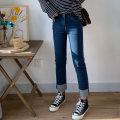 Women's large Spring 2020 blue Large L, large XL, 2XL, 3XL, 4XL, 5XL Jeans singleton  commute Self cultivation moderate Korean version Denim Three dimensional cutting 18-24 years old Ninth pants