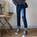 Women's large Spring 2020 blue Large L, large XL, 2XL, 3XL, 4XL, 5XL Jeans singleton  commute Self cultivation moderate Korean version Denim Three dimensional cutting 18-24 years old Ninth pants