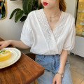 shirt white Average size Summer 2020 other 30% and below Short sleeve Versatile Regular V-neck Single row multi button puff sleeve Solid color 25-29 years old Straight cylinder Other / other CS-25