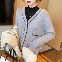 Wool knitwear Autumn 2020 Average size Black, apricot, grey, coffee Long sleeves singleton  Cardigan wool 30% and below Regular routine commute Straight cylinder V-neck routine other Single breasted Korean version ZZ-92 25-29 years old Other / other Color contrast