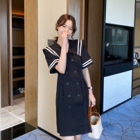 Dress Summer 2020 Black, black dot M, L Mid length dress singleton  Short sleeve commute V-neck middle-waisted Solid color double-breasted A-line skirt other 25-29 years old Type A Other / other Korean version Q-32 30% and below other other