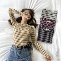 T-shirt Red, yellow, blue, coffee, short sleeve blue, short sleeve red, short sleeve yellow One size fits all, s, L Spring 2020 Long sleeves Crew neck Self cultivation Regular routine commute other 30% and below 25-29 years old Korean version Thin horizontal stripe Other / other TX-28161