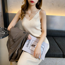 Dress Autumn 2020 Apricot, black, gray, blue, turmeric Average size Mid length dress singleton  Sleeveless commute V-neck High waist Solid color other other camisole 25-29 years old Type H Other / other Korean version Q-46 30% and below other cotton