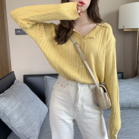 Wool knitwear Spring 2020 Average size Yellow, white, gray, black, orange, purple Long sleeves singleton  Cardigan other 30% and below Regular routine commute Straight cylinder V-neck routine Solid color Single breasted Korean version ZZ-38 25-29 years old Other / other