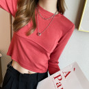 T-shirt White, black, red, gray, brown, ginger Average size Autumn 2020 Long sleeves Crew neck easy have cash less than that is registered in the accounts routine commute other 30% and below 25-29 years old Korean version TX-166