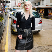 skirt Spring of 2018 S M L Piano black Short skirt Versatile High waist A-line skirt Solid color Type A 18-24 years old HR18C9007 More than 95% other Hongru other Decorative zipper pocket PU Pure e-commerce (online only)