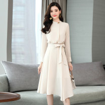 Dress Autumn of 2019 S M L XL 2XL 3XL Mid length dress singleton  Long sleeves commute Crew neck middle-waisted Solid color Socket A-line skirt routine Others 25-29 years old VeeLa Korean version More than 95% other Other 100% Pure e-commerce (online only)