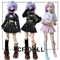 BJD doll zone suit 1/4 Over 14 years old goods in stock A complete set of black, black T-shirt, black pleated skirt with belt, a complete set of white, white T-shirt, purple pleated skirt, vest army green, vest other colors private message customer service 1 / 6, big six, 1 / 4, 1 / 3, giant baby